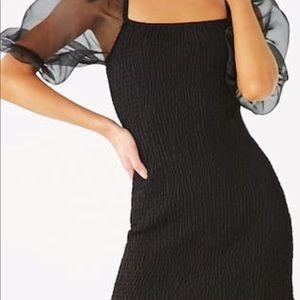 Forever21 Black Smocked Organza-Sleeved Mini Dress